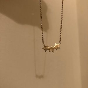Dogeared brushed gold three star necklace